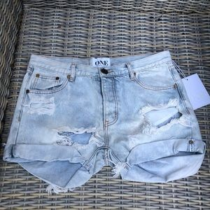 ONE Teaspoon Charger Shorts High Waisted 28 NEW